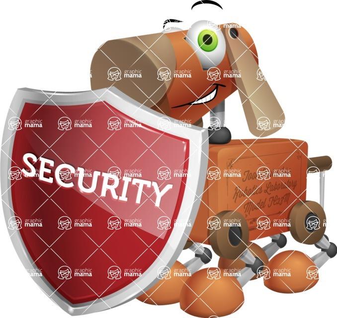 Old School Robot Dog Cartoon Vector Character AKA Robo Doug - Protect 1