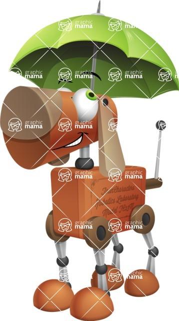 Old School Robot Dog Cartoon Vector Character AKA Robo Doug - Umbrella
