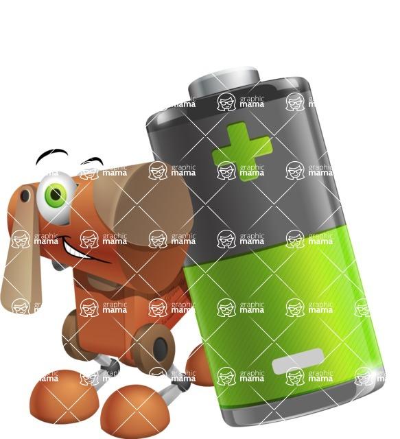 Old School Robot Dog Cartoon Vector Character AKA Robo Doug - Battery