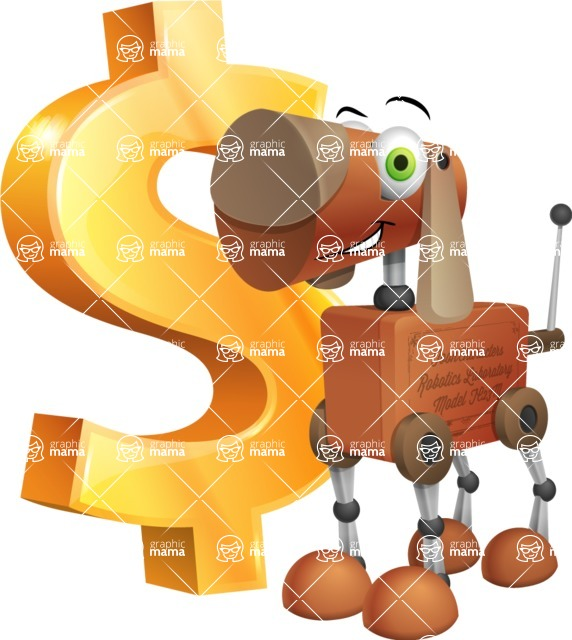 Old School Robot Dog Cartoon Vector Character AKA Robo Doug - Dollar