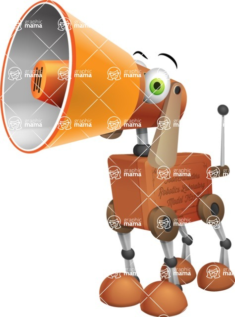 Old School Robot Dog Cartoon Vector Character AKA Robo Doug - Loudspeaker