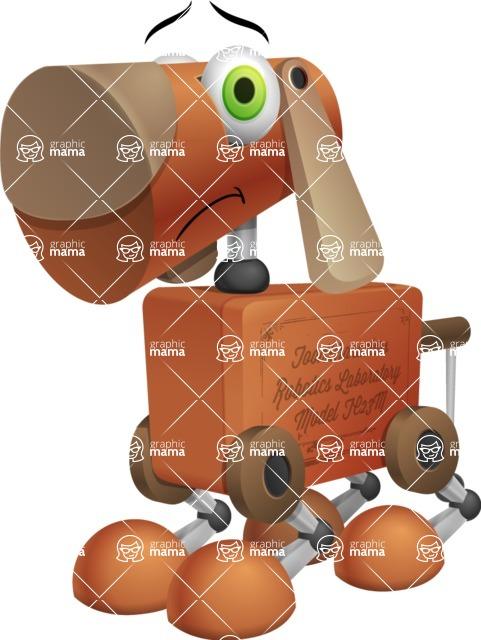 Old School Robot Dog Cartoon Vector Character AKA Robo Doug - Sad
