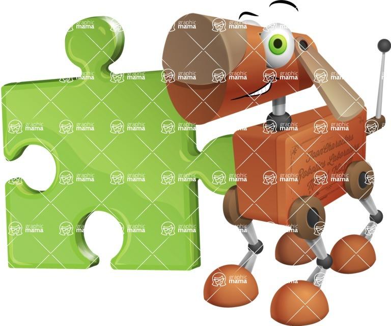 Old School Robot Dog Cartoon Vector Character AKA Robo Doug - Puzzle