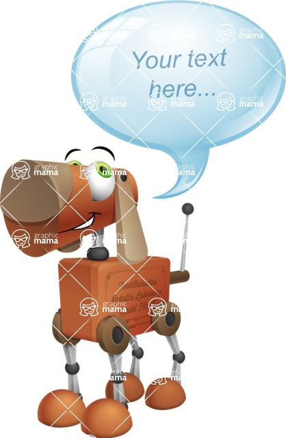 Old School Robot Dog Cartoon Vector Character AKA Robo Doug - Text Bubble