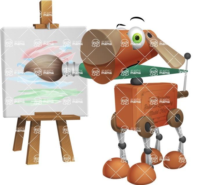 Old School Robot Dog Cartoon Vector Character AKA Robo Doug - Artist