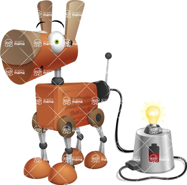 Old School Robot Dog Cartoon Vector Character AKA Robo Doug - Charging