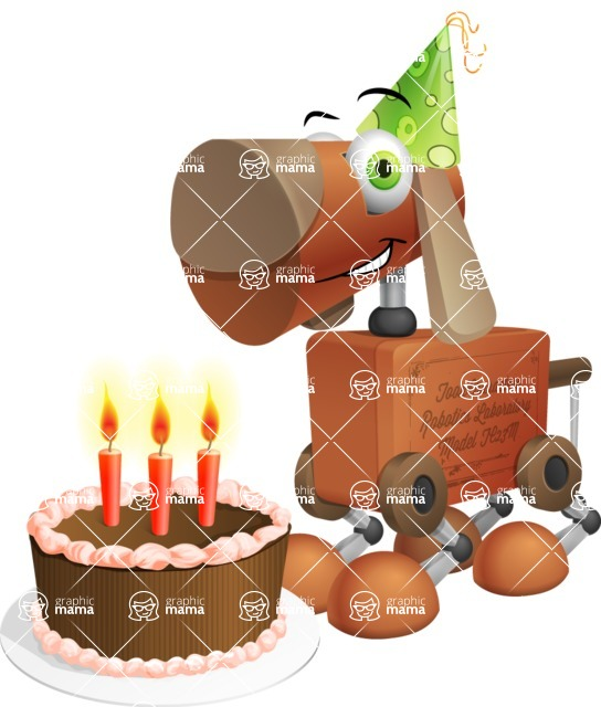 Old School Robot Dog Cartoon Vector Character AKA Robo Doug - Birthday