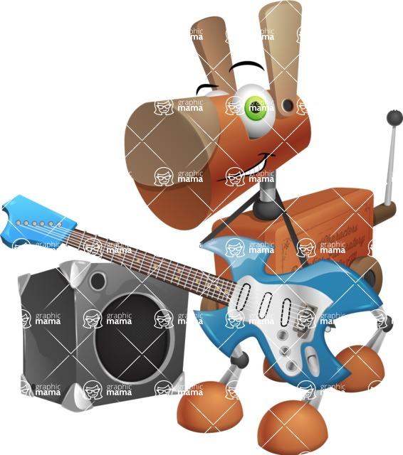 Old School Robot Dog Cartoon Vector Character AKA Robo Doug - Music
