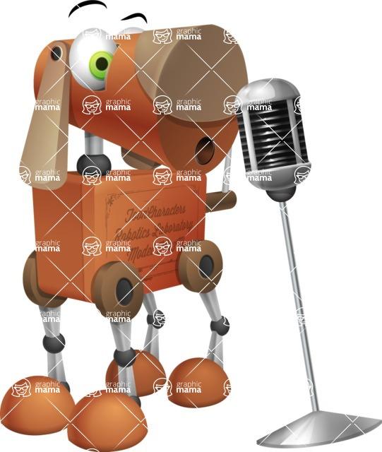 Old School Robot Dog Cartoon Vector Character AKA Robo Doug - Sing