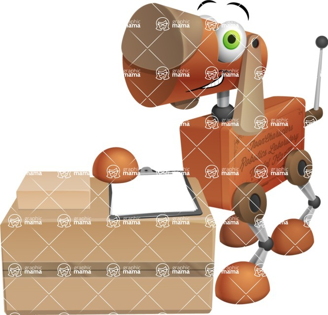 Old School Robot Dog Cartoon Vector Character AKA Robo Doug - Delivery 1