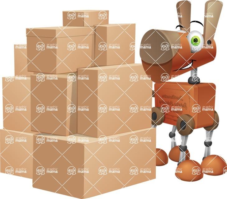 Old School Robot Dog Cartoon Vector Character AKA Robo Doug - Delivery 2