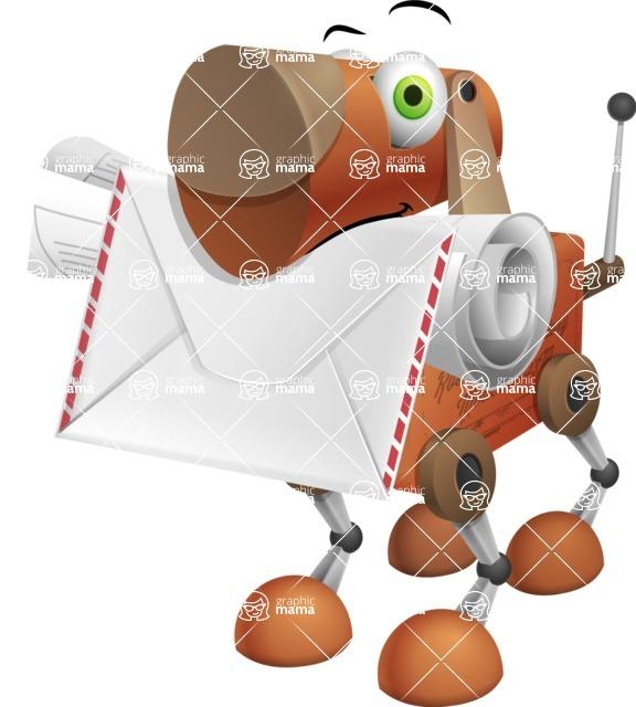 Old School Robot Dog Cartoon Vector Character AKA Robo Doug - Dog Postman