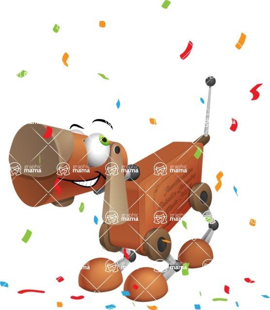 Old School Robot Dog Cartoon Vector Character AKA Robo Doug - Party