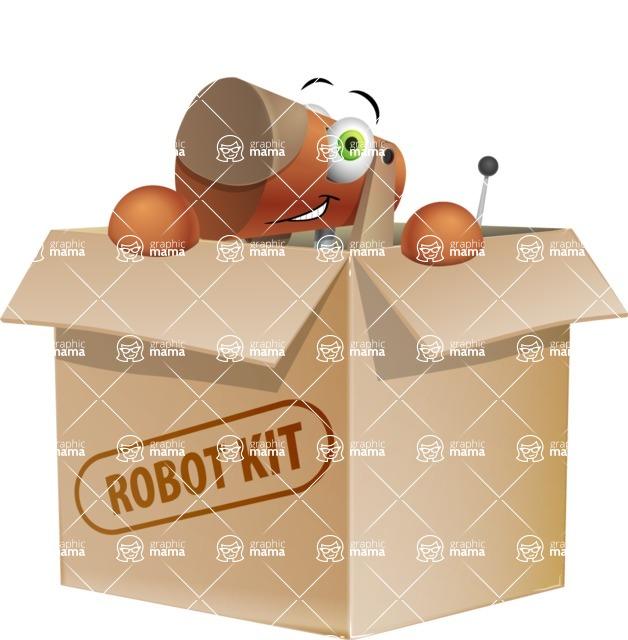 Old School Robot Dog Cartoon Vector Character AKA Robo Doug - Box