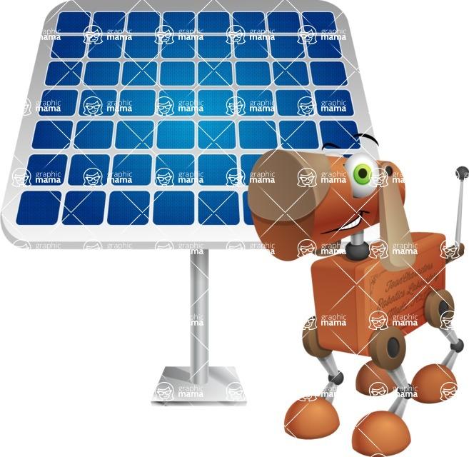 Old School Robot Dog Cartoon Vector Character AKA Robo Doug - Solar Panel
