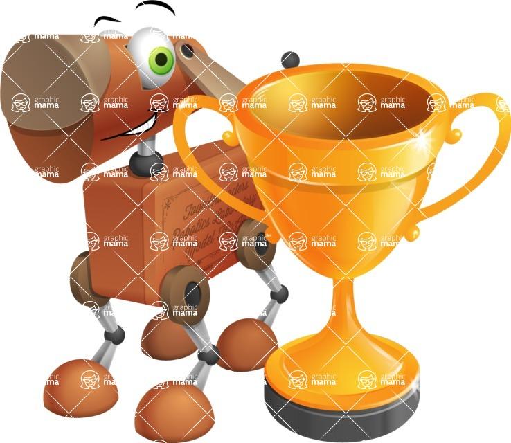 Old School Robot Dog Cartoon Vector Character AKA Robo Doug - Cup