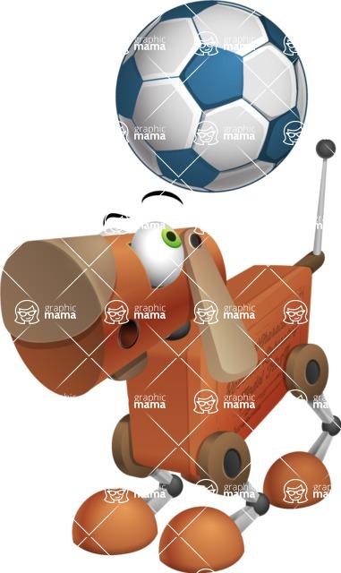 Old School Robot Dog Cartoon Vector Character AKA Robo Doug - Soccer