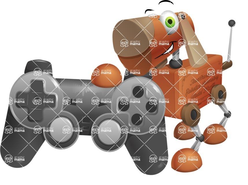 Old School Robot Dog Cartoon Vector Character AKA Robo Doug - Game