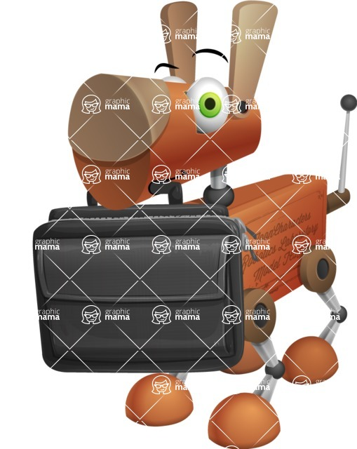 Old School Robot Dog Cartoon Vector Character AKA Robo Doug - Briefcase