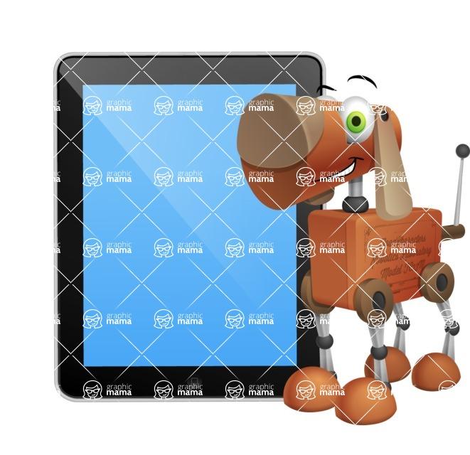 Old School Robot Dog Cartoon Vector Character AKA Robo Doug - iPad 1