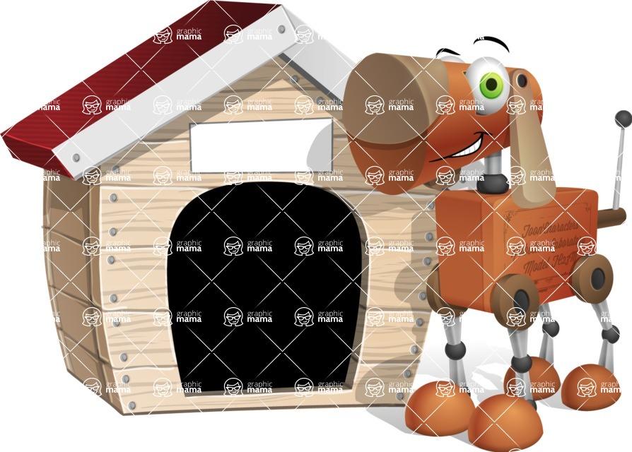Old School Robot Dog Cartoon Vector Character AKA Robo Doug - Doggy House