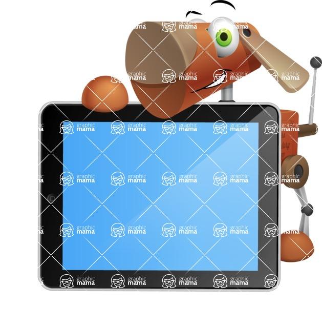 Old School Robot Dog Cartoon Vector Character AKA Robo Doug - iPad 2