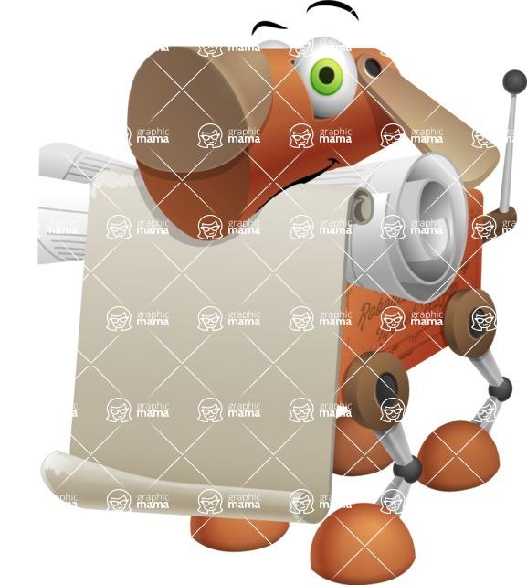 Old School Robot Dog Cartoon Vector Character AKA Robo Doug - Sign 1