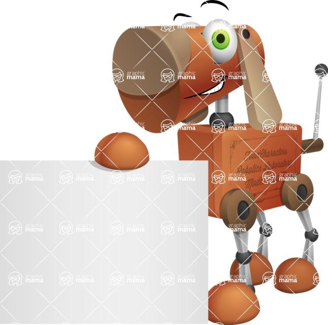 Old School Robot Dog Cartoon Vector Character AKA Robo Doug - Sign 2