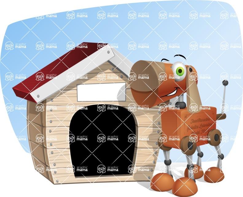Old School Robot Dog Cartoon Vector Character AKA Robo Doug - Shape5