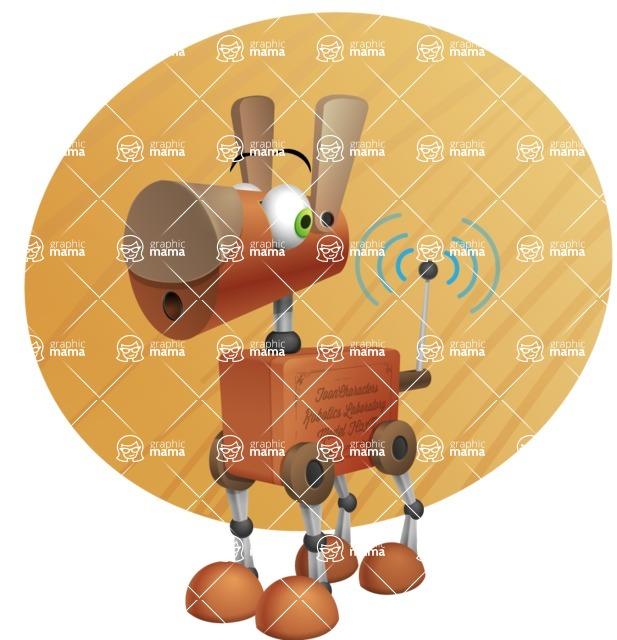 Old School Robot Dog Cartoon Vector Character AKA Robo Doug - Shape9
