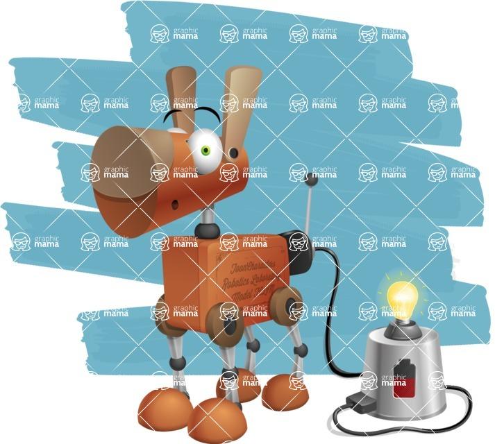 Old School Robot Dog Cartoon Vector Character AKA Robo Doug - Shape12