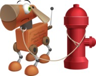 Old School Robot Dog Cartoon Vector Character AKA Robo Doug - Fireplug
