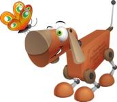 Old School Robot Dog Cartoon Vector Character AKA Robo Doug - Butterfly