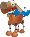 Old School Robot Dog Cartoon Vector Character AKA Robo Doug - Super Dog