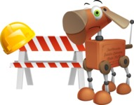 Old School Robot Dog Cartoon Vector Character AKA Robo Doug - Under Construction 1