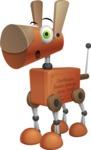 Old School Robot Dog Cartoon Vector Character AKA Robo Doug - Attention