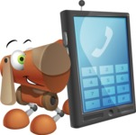 Old School Robot Dog Cartoon Vector Character AKA Robo Doug - Phone