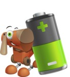 Old School Robot Dog Cartoon Vector Character AKA Robo Doug - Battery