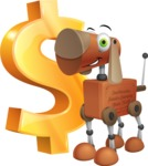 Old School Robot Dog Cartoon Vector Character AKA Robo Doug - Dollar