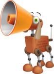 Old School Robot Dog Cartoon Vector Character AKA Robo Doug - Loudspeaker