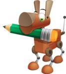 Old School Robot Dog Cartoon Vector Character AKA Robo Doug - Pencil