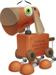 Old School Robot Dog Cartoon Vector Character AKA Robo Doug - Sad