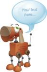 Old School Robot Dog Cartoon Vector Character AKA Robo Doug - Text Bubble