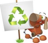 Old School Robot Dog Cartoon Vector Character AKA Robo Doug - Recycling