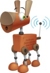 Old School Robot Dog Cartoon Vector Character AKA Robo Doug - Wi-Fi