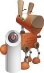 Old School Robot Dog Cartoon Vector Character AKA Robo Doug - Power Button
