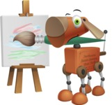 Old School Robot Dog Cartoon Vector Character AKA Robo Doug - Artist