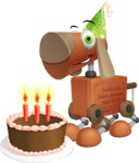 Old School Robot Dog Cartoon Vector Character AKA Robo Doug - Birthday