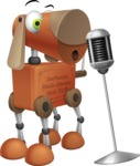 Old School Robot Dog Cartoon Vector Character AKA Robo Doug - Sing