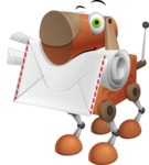 Old School Robot Dog Cartoon Vector Character AKA Robo Doug - Dog Postman
